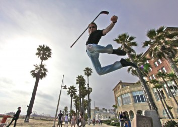 Chris showing some super high jumping joy and representing his LA Kings support..