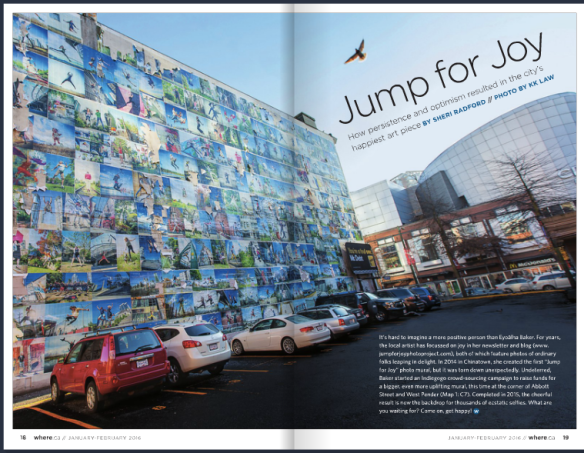 Page 18/19 Jump for Joy (Wall of Joy mural) in WHERE Magazine Jan/Feb Issue 2016