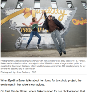 An article about Jump for Joy Photo mural. BY DHARM MAKWANA, THE PROVINCE MAY 9, 2014