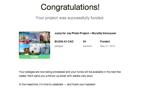 Jump for Joy Photo Project Kickstarter Funded