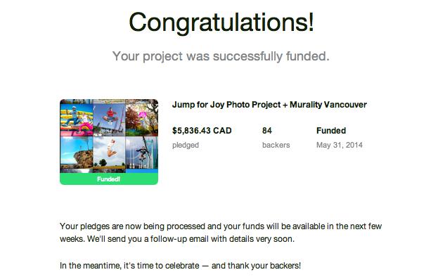 Jump for Joy Photo Project Kickstarter Funded