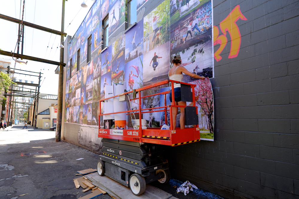 Photos of Eyoalha Baker creating the Jump for Joy Photo Mural sent in by Melissa Munroe