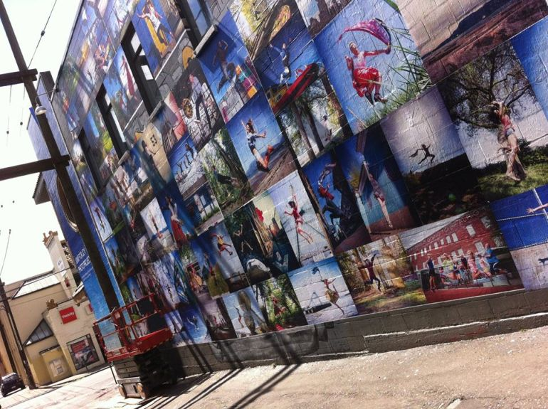 Photos of Jump for Joy Mural being created by Rosalyn Cua, Melissa Munroe and Paula Castellon