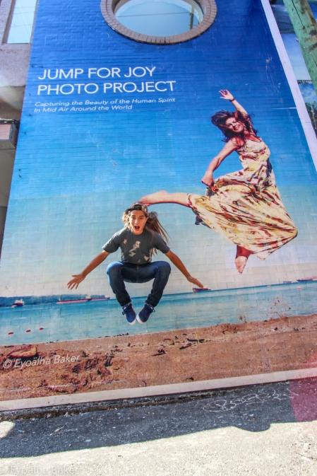 My nephew Sekoya Baker jumping by a photo of me :)