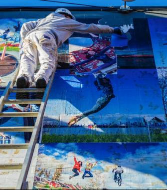 Jump for joy photo Mural photos of mural by Joe Carlson