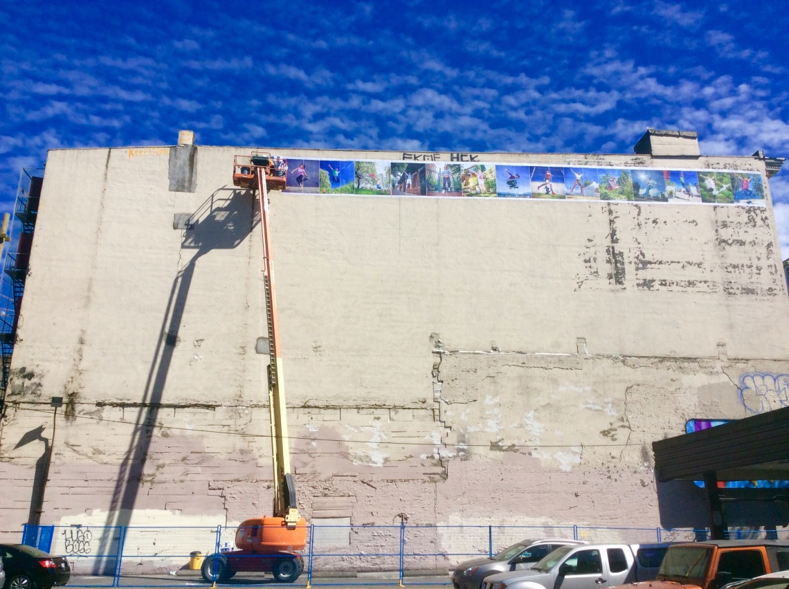 Thats me up there putting up posters. Photo by Alexandre Legere