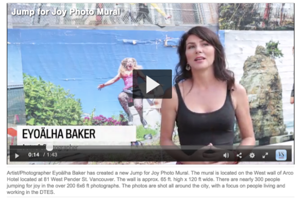 Vancouver Sun Wall of Joy mural with video interview with Eyoalha Baker