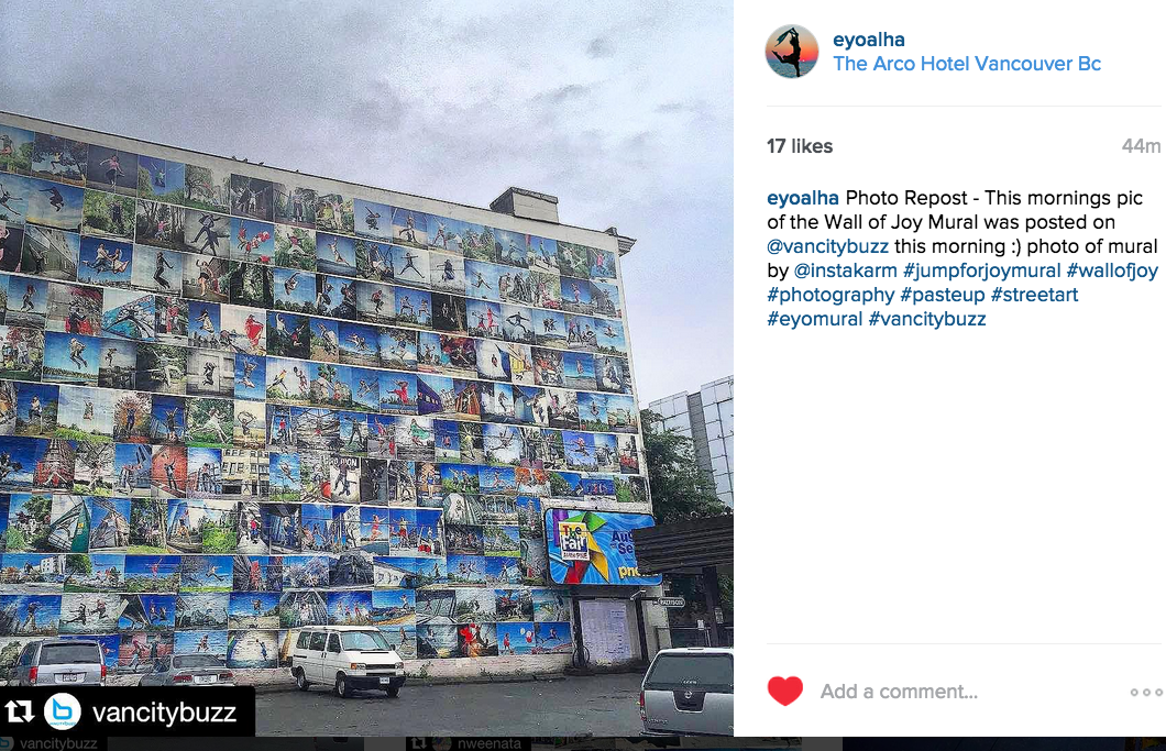 VanCityBuzz Instagram photo by @Instakram of The Wall of Joy Mural by Eyoalha Baker
