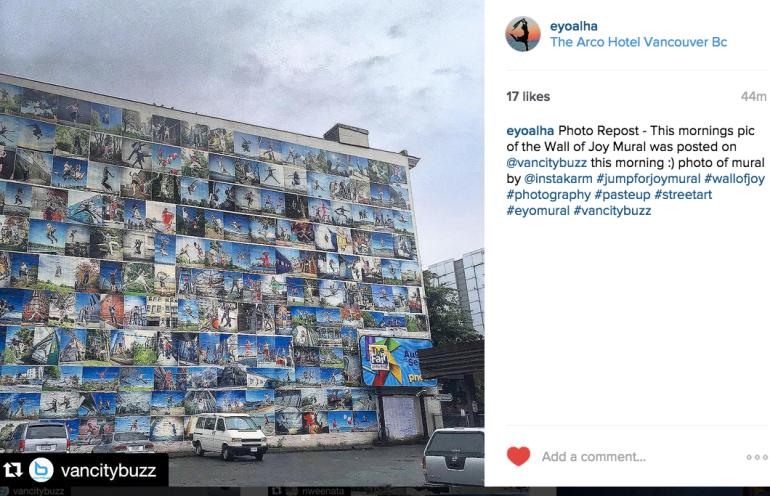 VanCityBuzz Instagram photo by @Instakram of The Wall of Joy Mural by Eyoalha Baker
