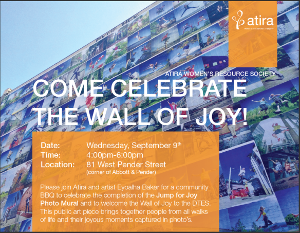 Wall of Joy - Community BBQ September 9th 4-6pm. The West wall of the Arco Hotel (facing Abbott St)