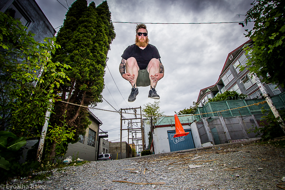 Photo of Ryan Jones jumping for joy by Eyoalha Baker
