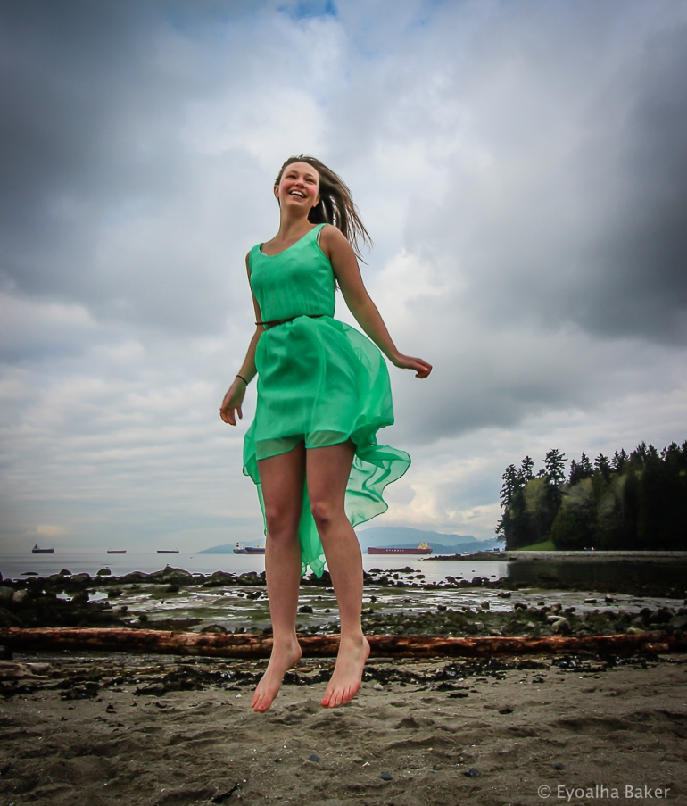 Photo of Ashleigh Wiles jumping for joy by Eyoalha Baker for the Jump for Joy Photo Project